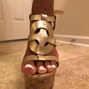 JustFab Shoes - Gold Wedge Heel